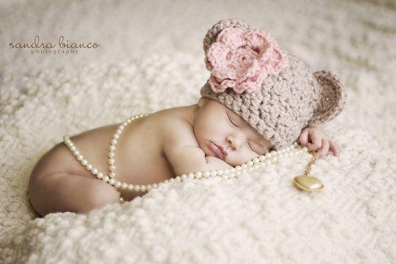Crochet Newborn Baby Girl Bear Beanie