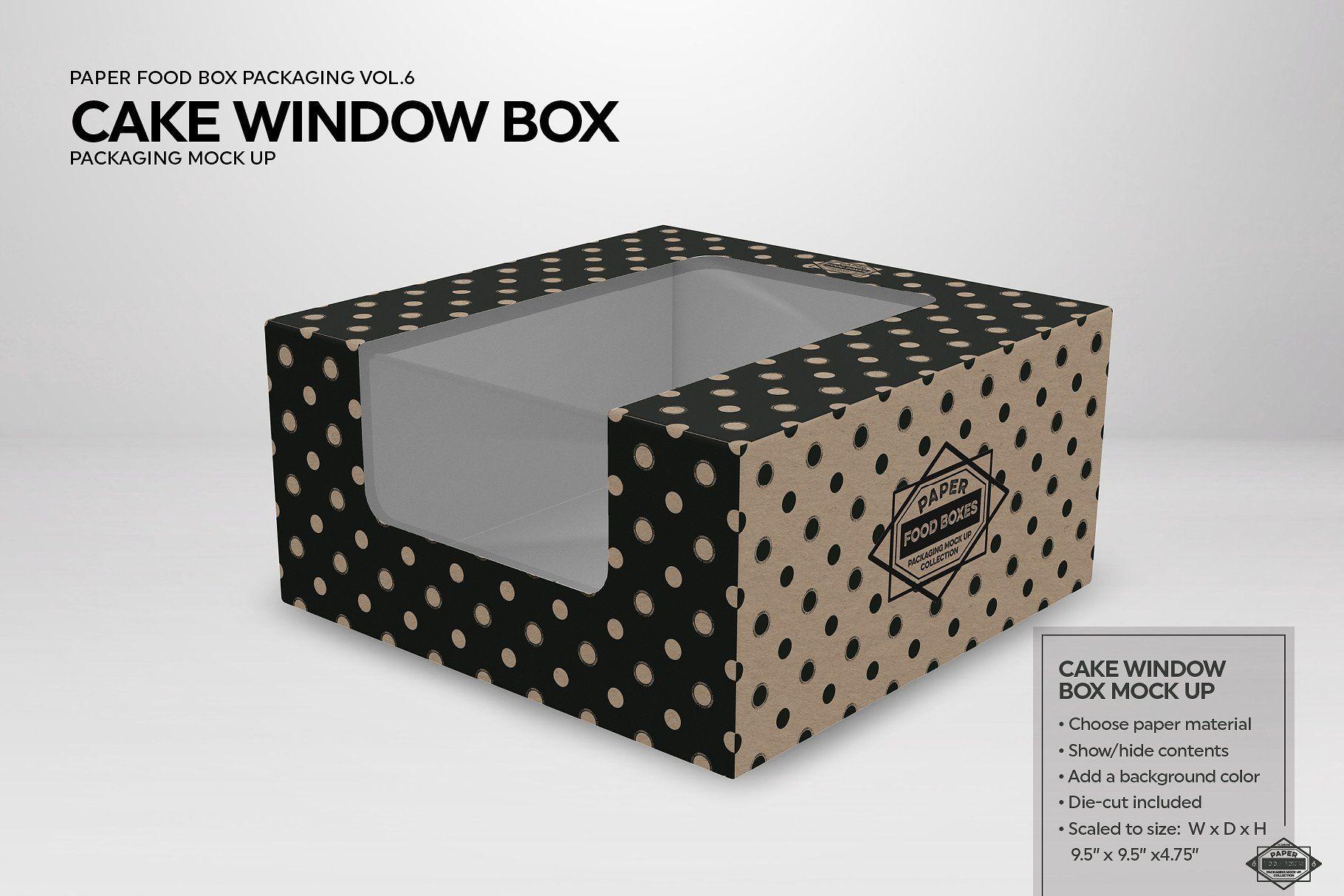 Download Cake Window Box Packaging Mockup Packaging Mockup Packaging Food Box Packaging