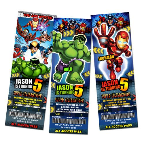 Super Hero Squad Ticket Birthday Party Invitations