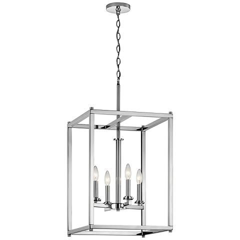 Kichler crosby 16 wide dual chrome 4 light foyer pendant 16w09