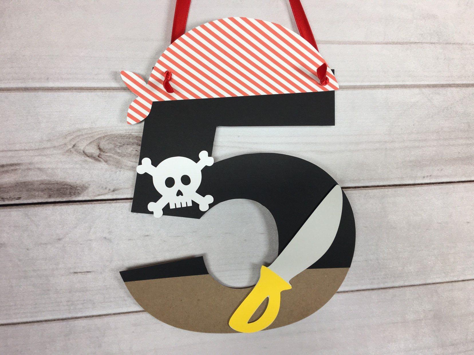 Beware of Pirates Door Cover Decoration Skull Head Swords Birthday Party Event