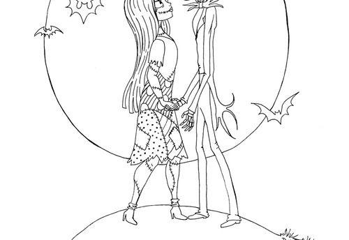 Jack And Sally Nightmare Before Christmas Coloring Pages Jack And Sally Coloring Pages