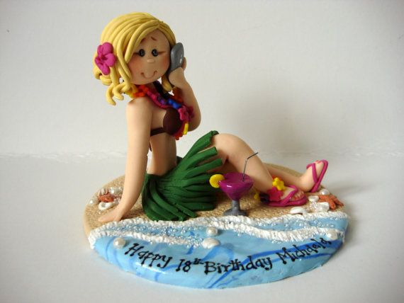 Hula Girl 18th 21st 30th 40th Birthday Cake Topper Girl glued to