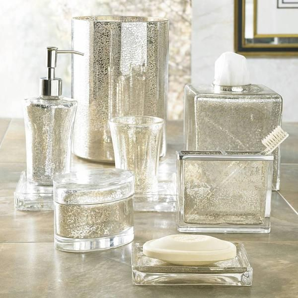 Vizcaya Mercury Glass Bathroom Accessories Crafted From Sparkling