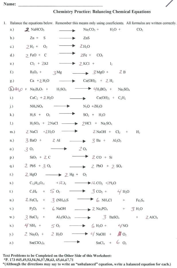 27 Balancing Chemical Equations Worksheet Balancing Worksheet 1 Chemical Equations Chemistry
