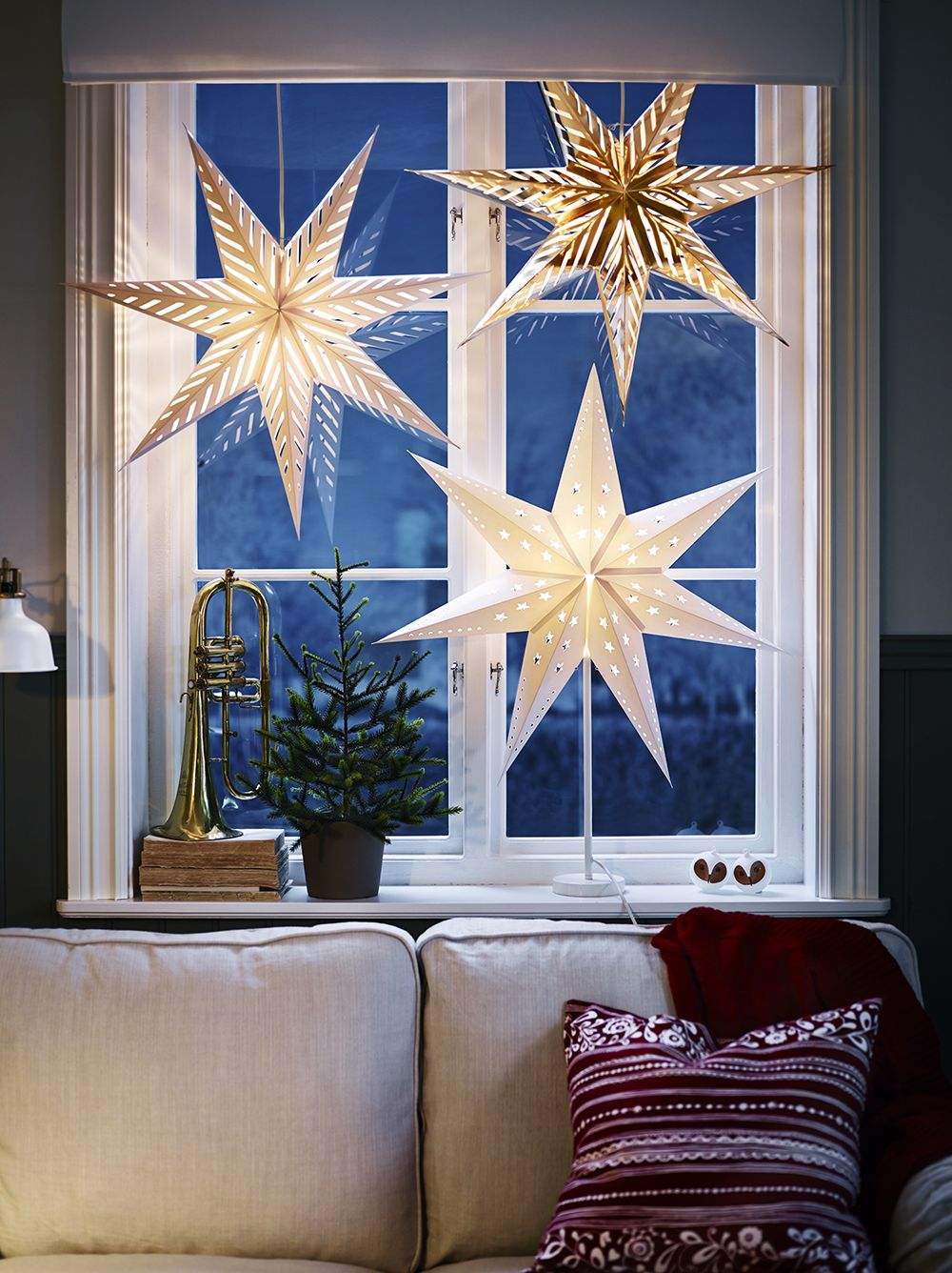 hanging star light decorations from Ikea. Super cheap and