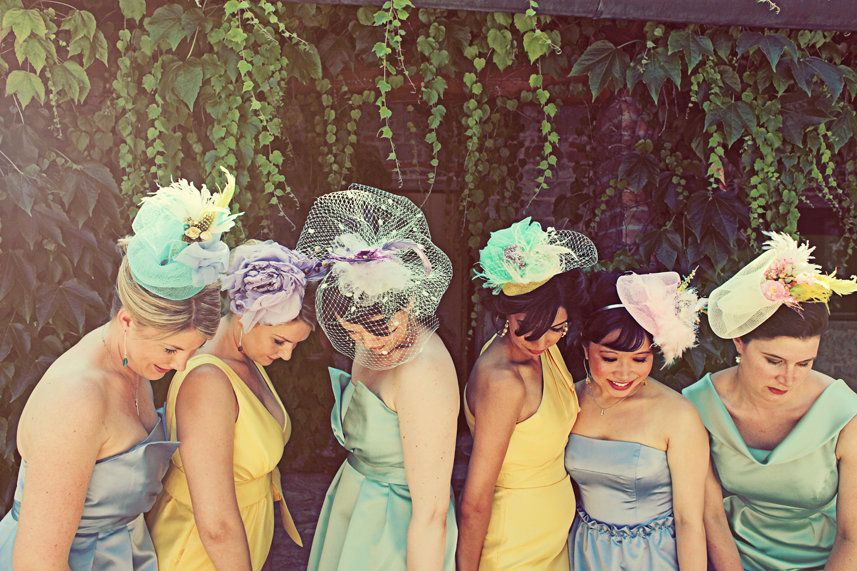 A cute addition to a colorful bridal party - beautiful hats and fascinators. 7ffc819e792