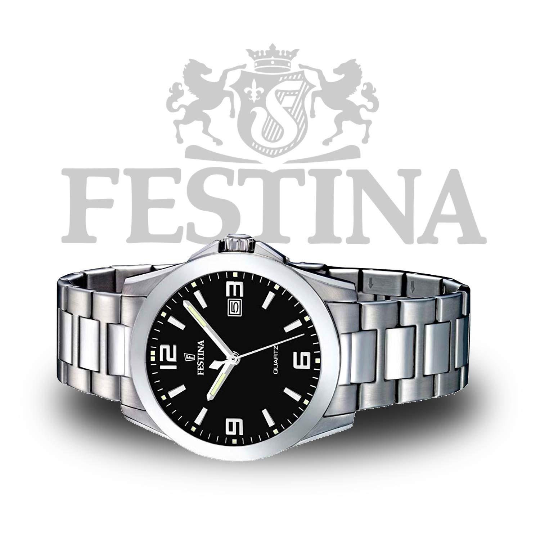 Festina Herrenuhr F16376 4 Flache Kompakte Analoguhr In Silber Schwarz Mit Quarzuhrwerk Uhren Herren Herrenuhren Silber