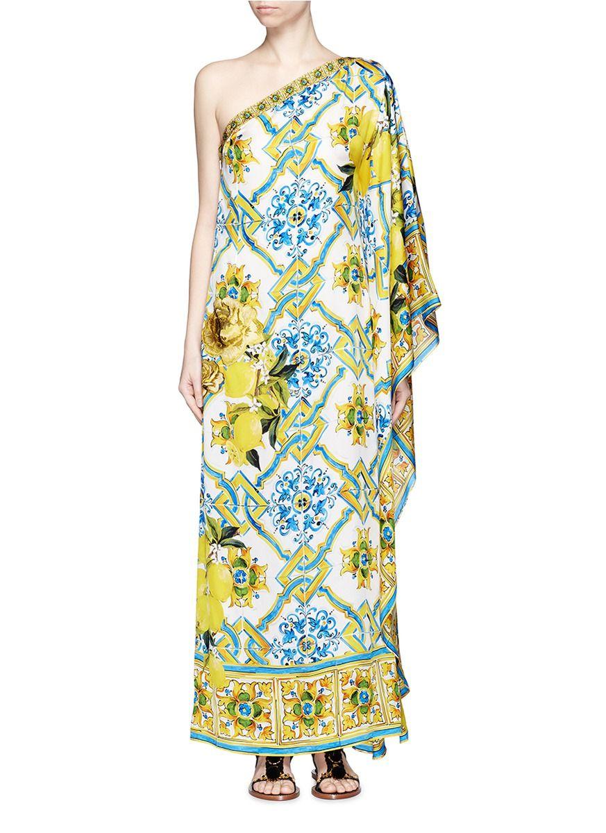 e994c9252d DOLCE   GABBANA Maiolica Flower Print One-Shoulder Kaftan Dress.   dolcegabbana  cloth  dress