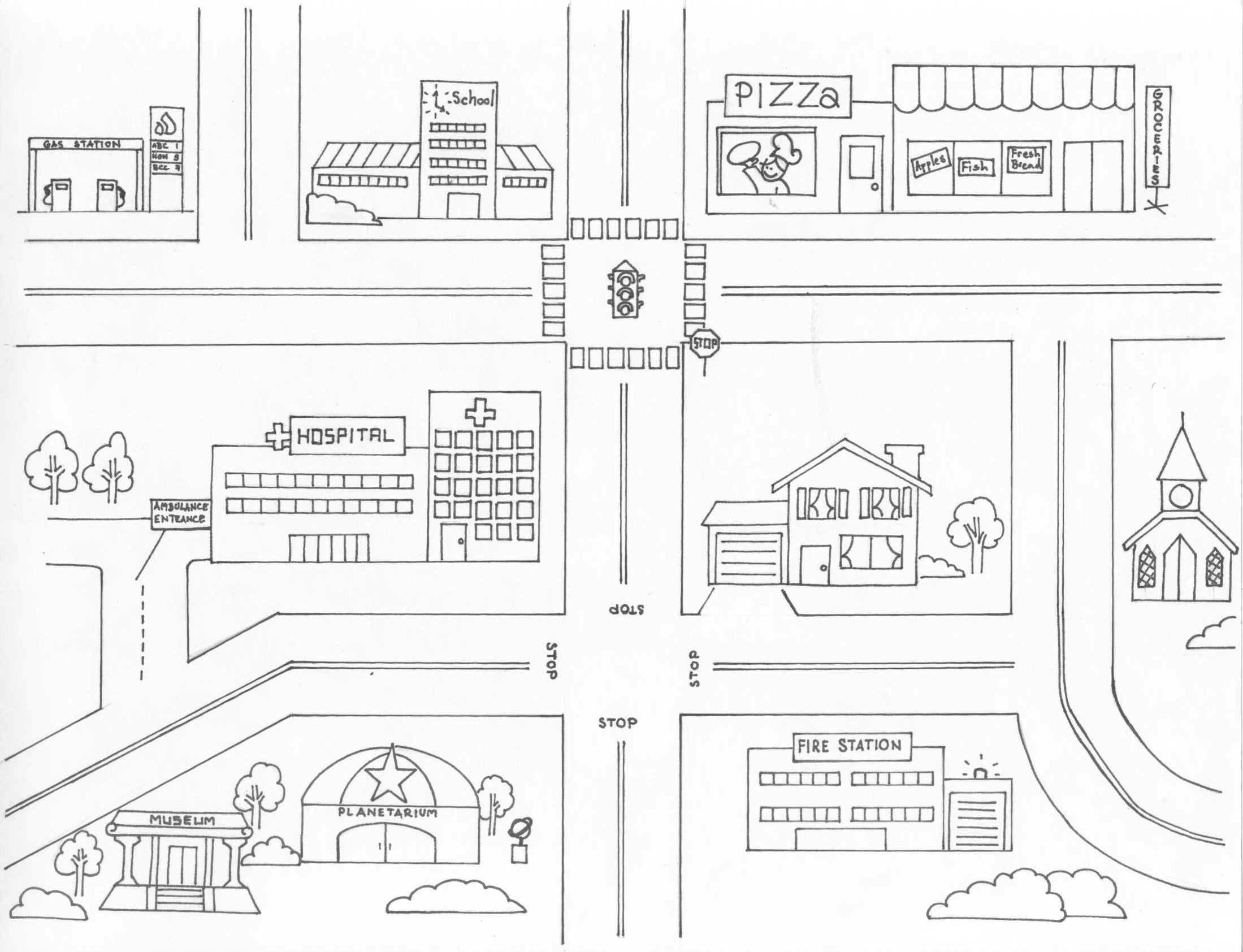 Neighborhood Map Coloring Pages Coloring Panda Image Coloring