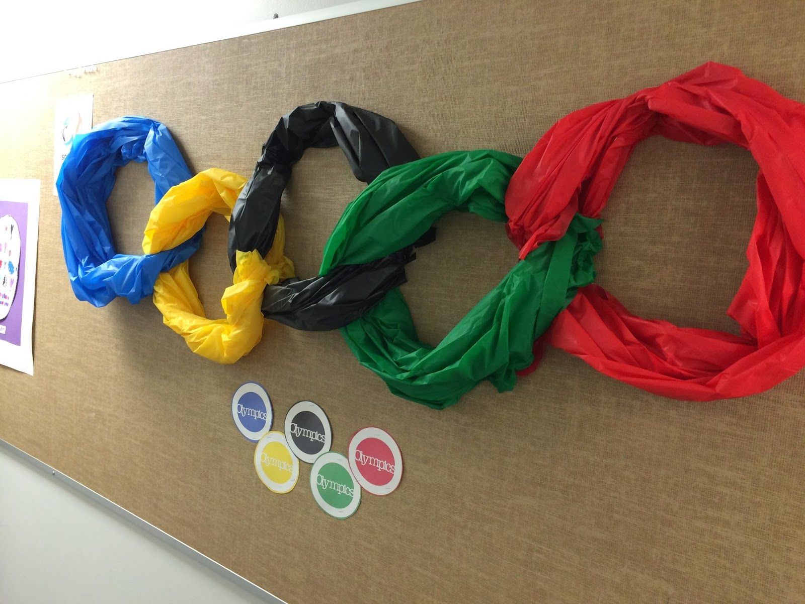Olympic Themed Bulletin Board made from plastic table clothes from ...