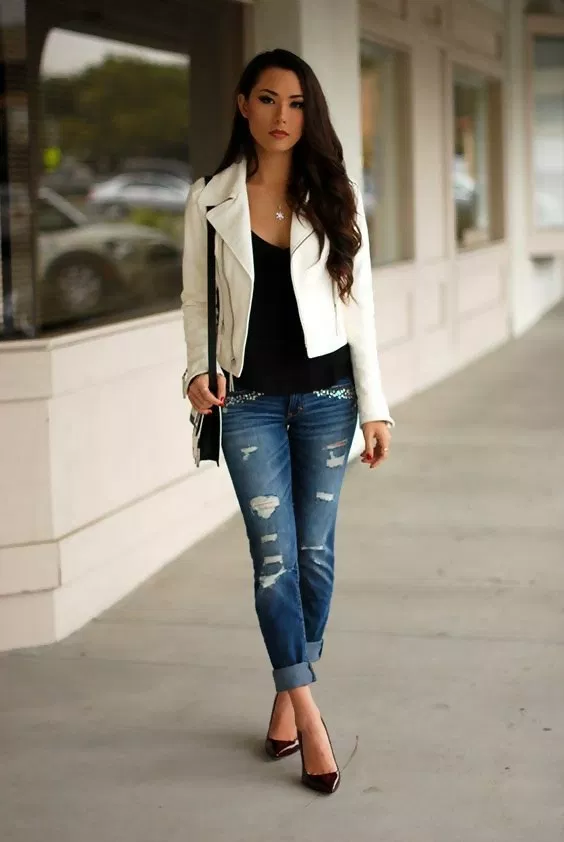 5 Best Leather Jacket Outfit Ideas To Copy Now White Leather Jacket Outfit White Leather Jacket White Jacket Outfit