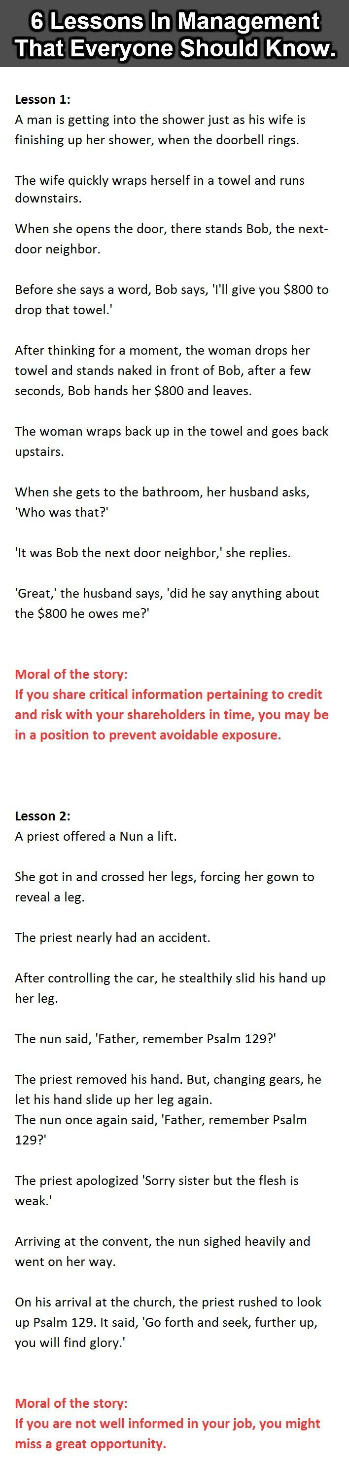 A List Of Fables And Their Morals 6 management lessons that everyone should know. #2 is