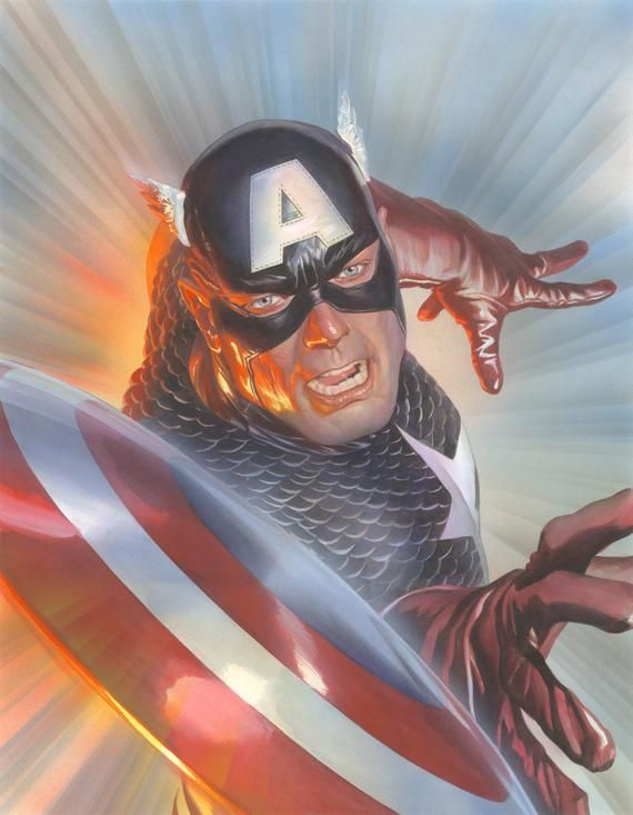 Alex Ross SIGNED Marvelocity Captain America Giclee on Canvas Limited Edition of 100