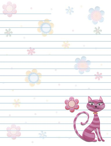 Cats Flowers Lined Stationery Free printable Stationery and