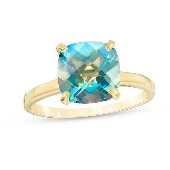 Zales 8.0mm Heart-Shaped Mystic Fire Topaz Solitaire Ring in 10K Gold dKrUXScj