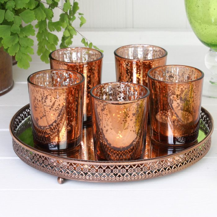 5 Votive Candle Holders on a Moroccan Copper Display Stand