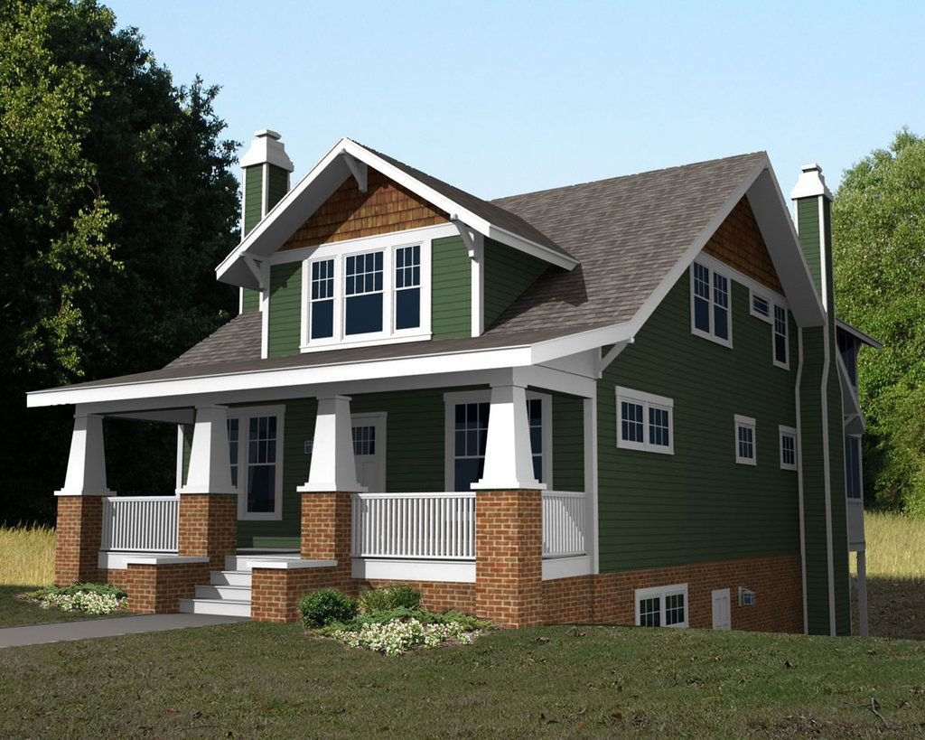 Craftsman front elevation plan 461 36 for Houseplans com craftsman