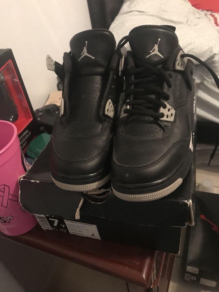 aff7e76e8b60 2015 Nike Air Jordan 4 Retro BG SZ 7Y Black White Oreo Cement Grey  408452-003  fashion  clothing  shoes  accessories  kidsclothingshoesaccs   boysshoes (ebay ...