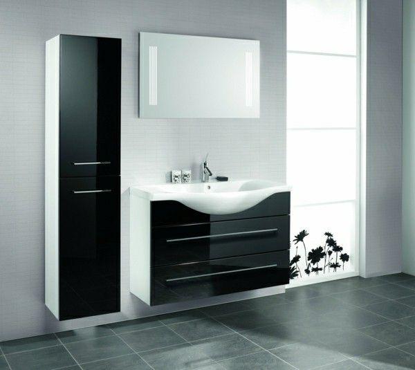 Bathroom furnishings bathroom Cabinet black white mirror | Furniture ...