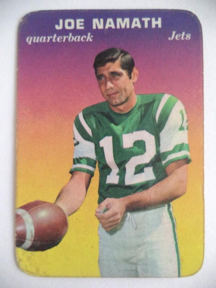 1969 topps joe namath jets 29 of 33 card joe namath nfl