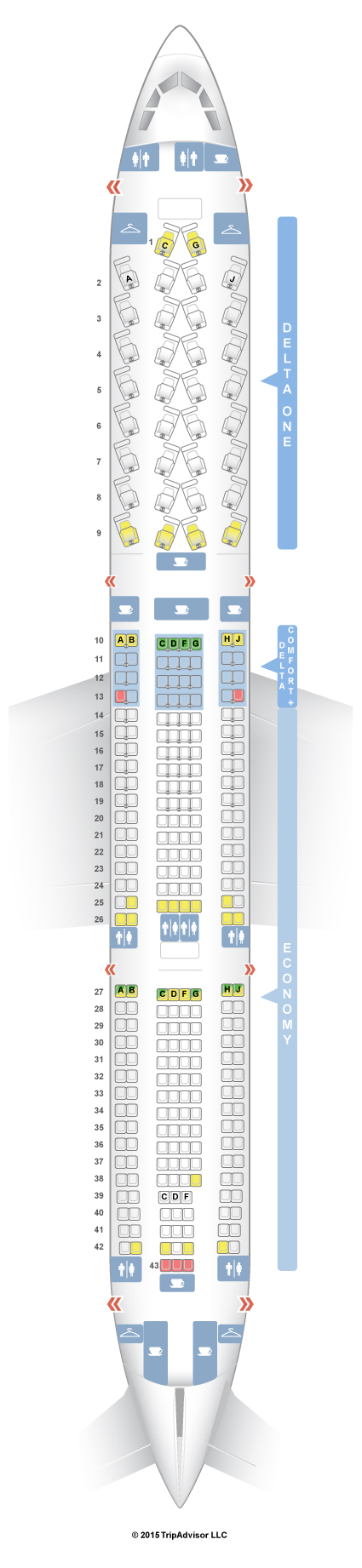 SeatGuru Seat Map Delta Airbus A330-300 (333) | aeroplanes and more on