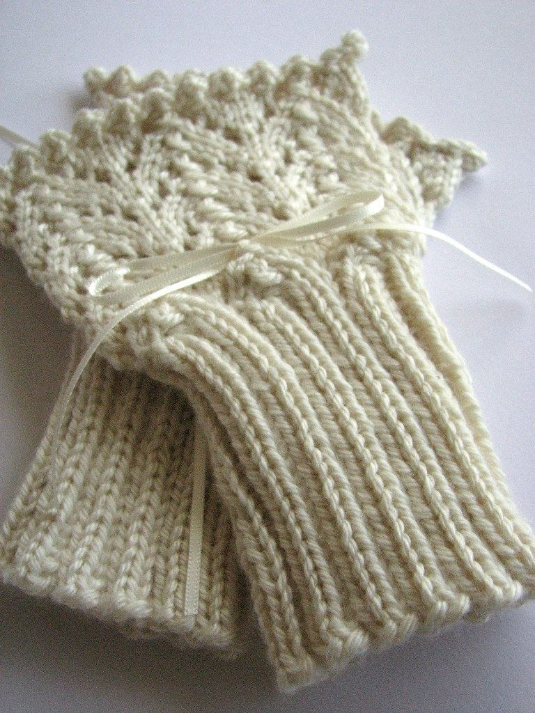 Lace knit cuffs knitted handwarmers fingerless mitts by SixSkeins ...