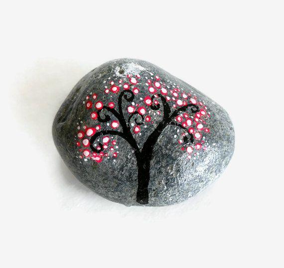 Cherry Blossom Art Painted Stone Cherry Blossom By Minizengarden Cherry Blossom Art Cherry Blossom Painting Hand Painted Rocks