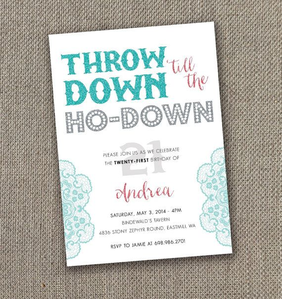 Throw Down til the HoDown Birthday Invitation Country Birthday