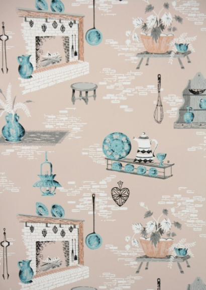 Vintage Wallpaper Pink And Blue Kitchen