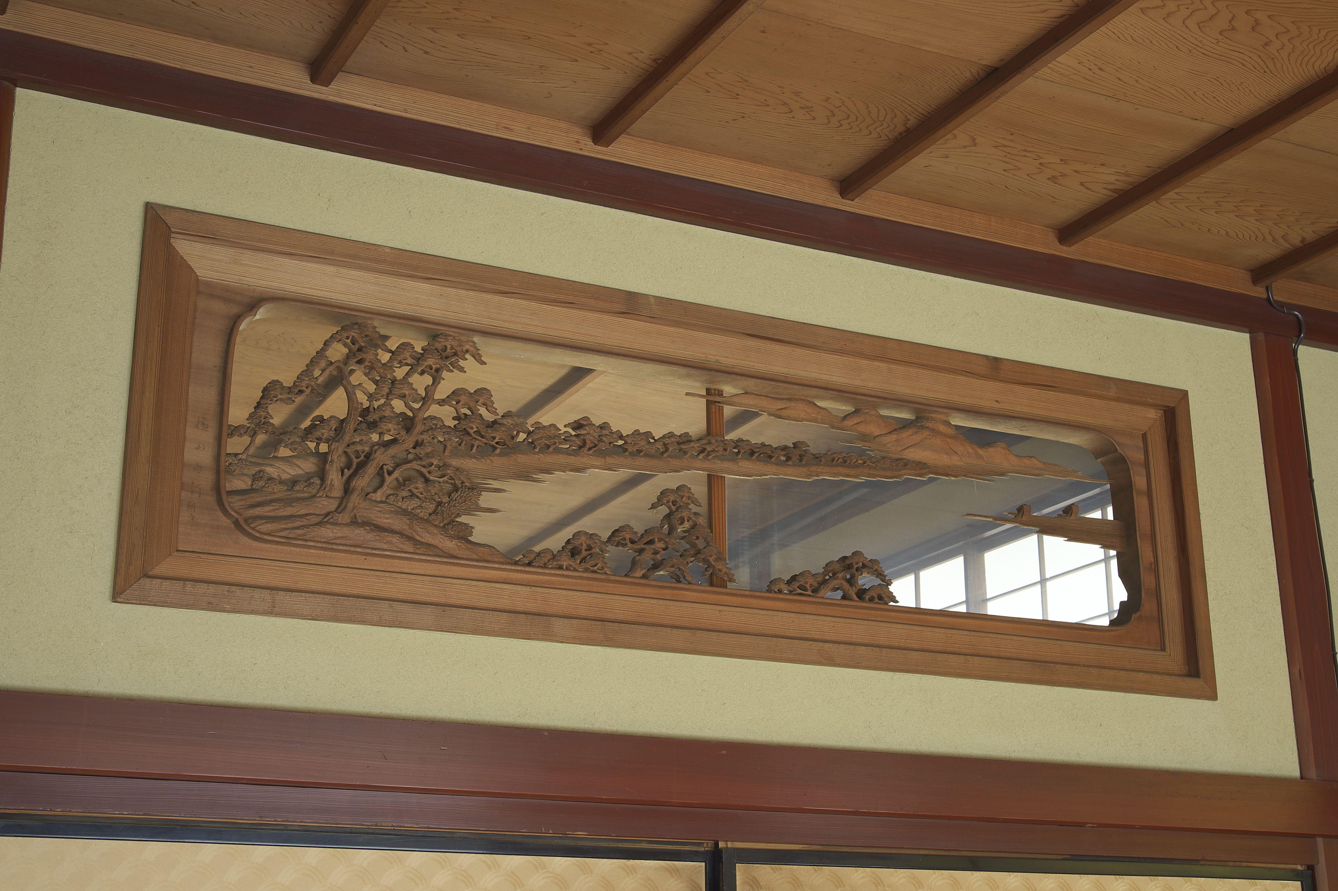 昭和初期 横山白汀による彫刻欄間 日本三景が彫られた3枚内おひとつ