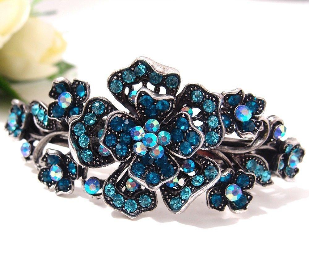 new blue rhinstones crystal silver tone metal flower hair claws