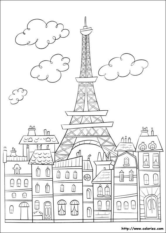 Paris ratatouille coloriage coloriages coloriage paris coloriage et coloriage ville - Image tour eiffel a imprimer ...