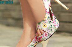 TradeGuide24.com - Sexy flower print pump, peek open, supper high heel, size 2~6/(34-39), rice white