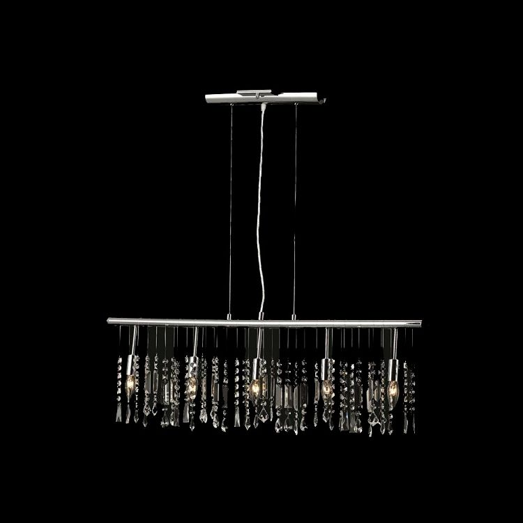 "Crystal Fusion Design 5 Light 38"" Linear Bar Pendant Chandelier with European Crystals SKU# 79993"