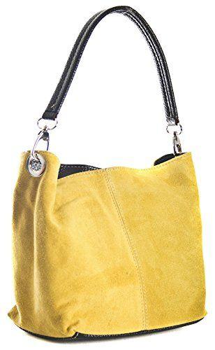 d8adeb5745 Big Handbag Shop Womens Mini Real Italian Suede Leather Single Strap Hobo  Slouch Bag Yellow