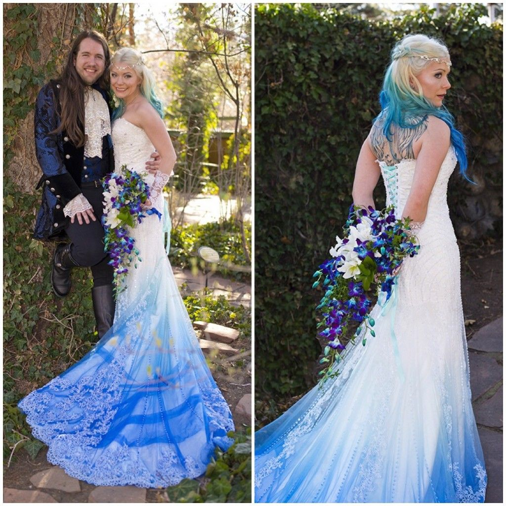 We were thrilled to ombre dye process this gown and to be a part of