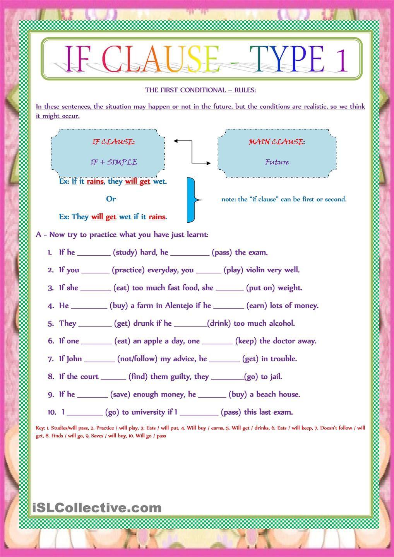 IF CLAUSE - TYPE 1   English Grammar Worksheets   English