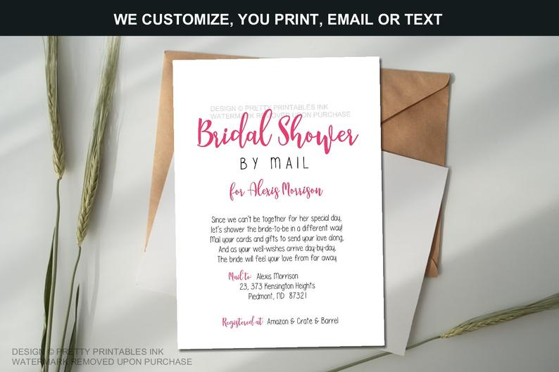 Bridal Shower By Mail Invitation Long Distance Shower By Mail Invitation Virtual Bridal Shower Invite Distance Bridal Shower Invite In 2020 Bridal Shower Bachelorette Party Ideas Bridal Shower