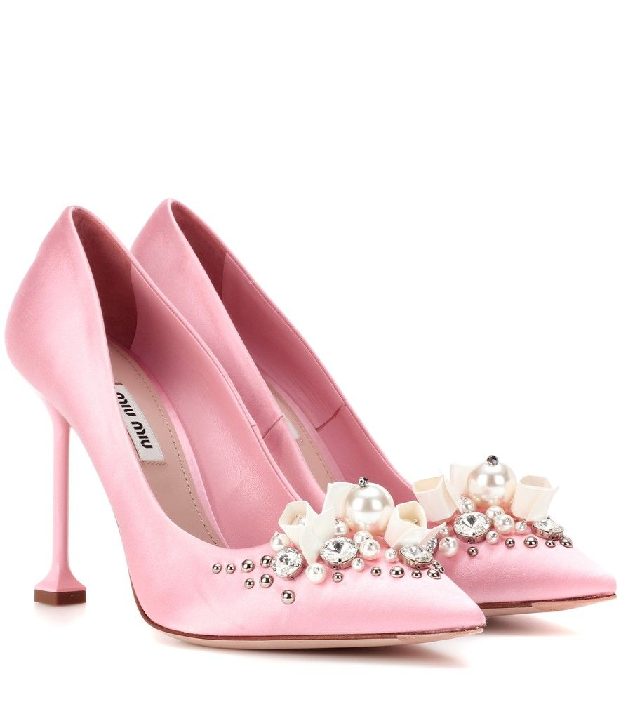 95b741ae4c6 Miu Miu Embellished Pink Satin Pumps They Feature An Array Of Faux Pearls  Crystals And Studs For A Sparkling Look.
