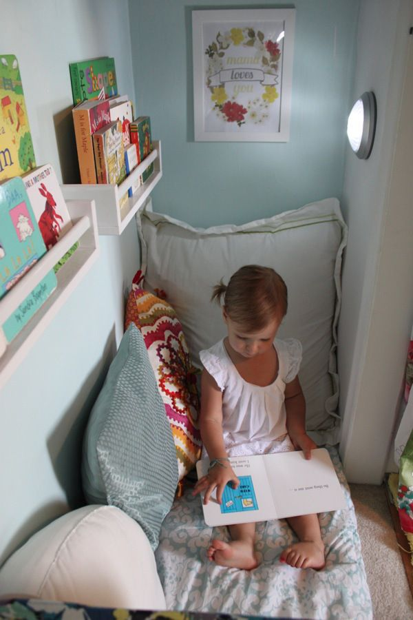 Nursery Closet: Storage Space Turned Cozy Book Nook - Mama.Papa.Bubba.