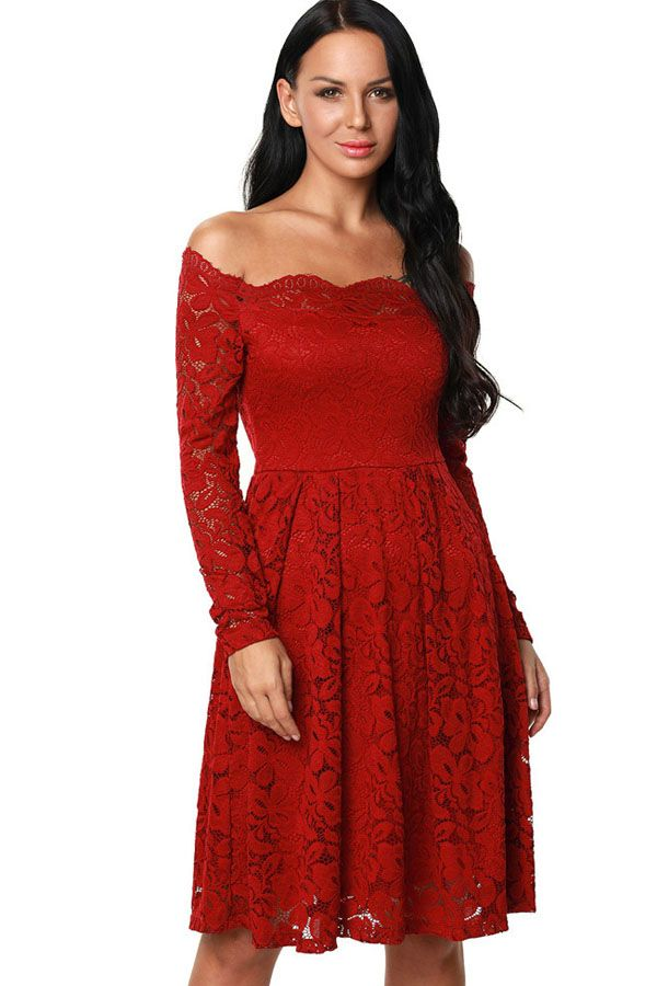 c78b08bf0a Solid Color Off Shoulder Lace Pleated Long Sleeve Dress in 2019 ...