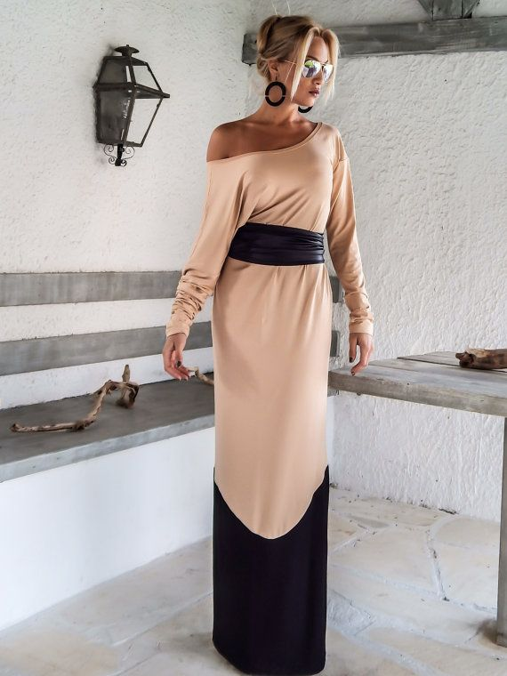 Nude Taupe & Black Maxi Dress / Nude Taupe Black Kaftan / Plus Size ...