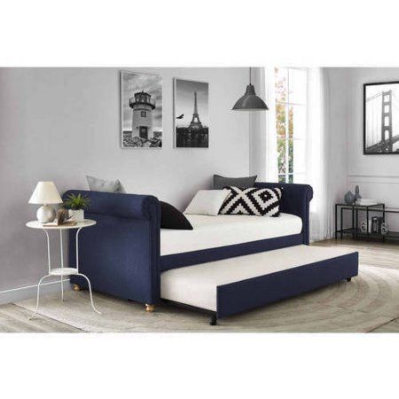 Sophia Upholstered Daybed Trundle Twin Navy Walmart Com Upholstered Daybed Daybed With Trundle Daybed