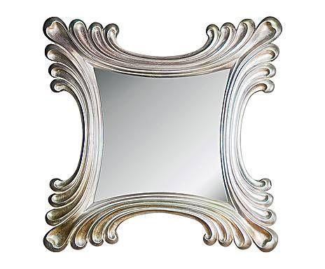 SALONES DE ENSUEÑO: Espejo cuadrado en resina– plata vieja