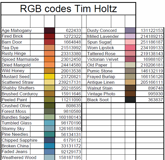 Scrappin Nanapuddin Anyone Interested In Tim Holtz Rgb Codes