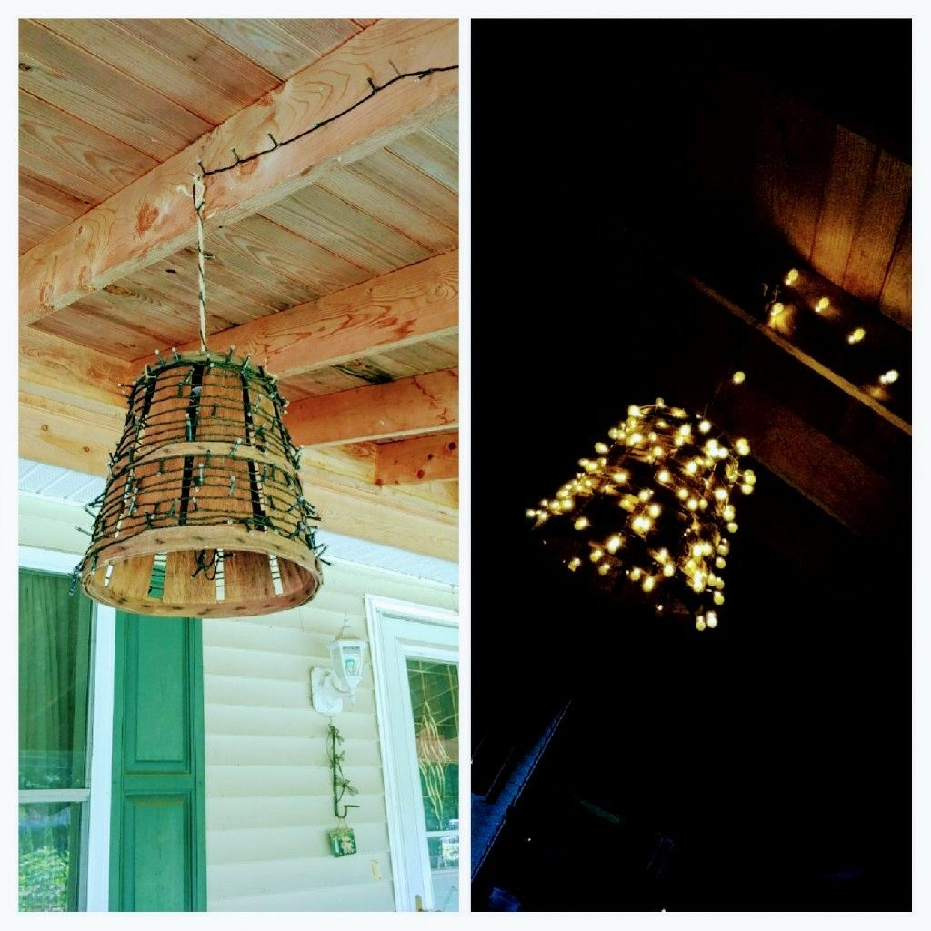 A little bit of inspiration today old peach basket twine solar a little bit of inspiration today old peach basket twine solar lights chandelier on my porch tonight arubaitofo Choice Image