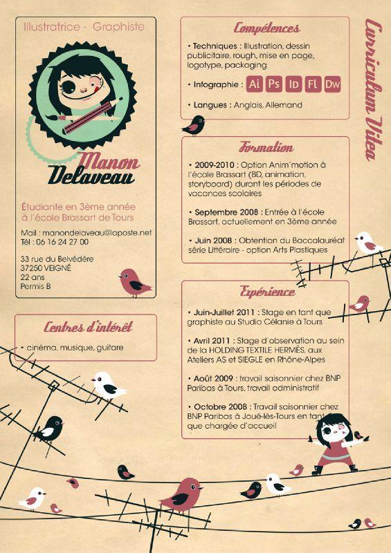 Manon Delaveau Cv Creatifs Graphique Carte De Visite Graphiques