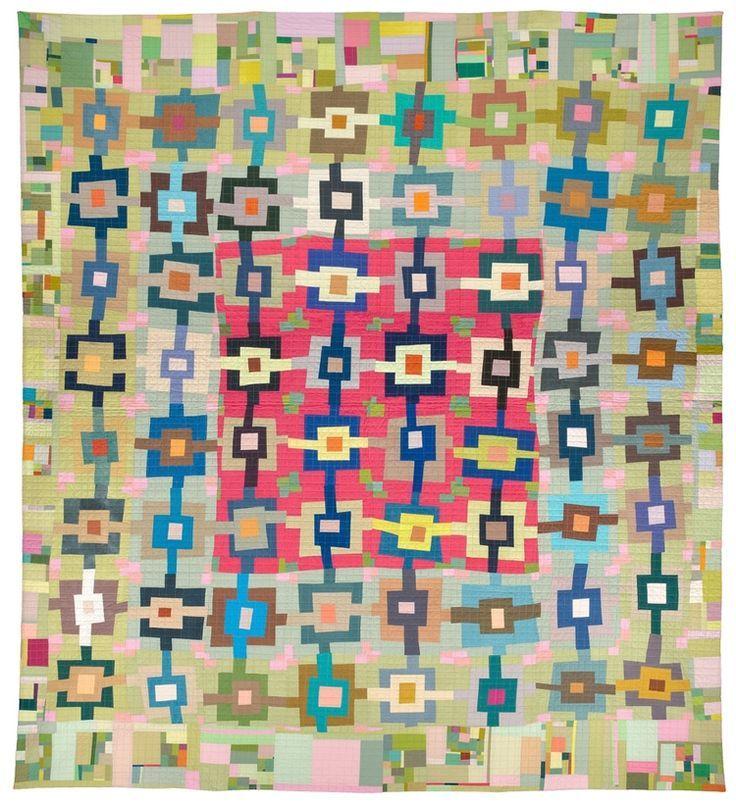 Pink Green Weave by Leslie J. Riley | art quilt