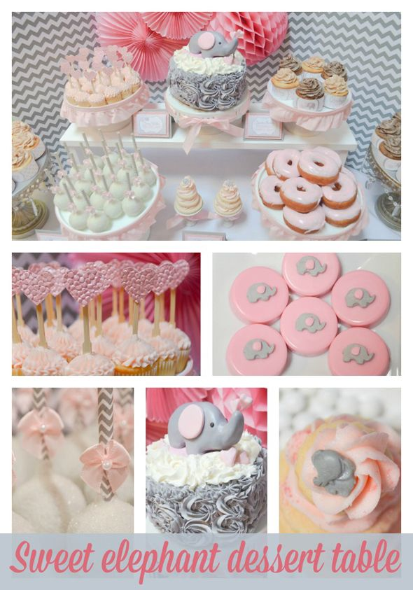 Pink And Grey Elephant Dessert Table Pink Elephants Baby Shower